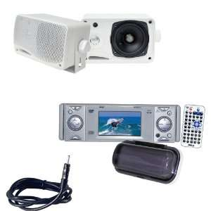 Pyle Marine Radio, Speaker and Cable Package   PLDMR3U In Dash Marine