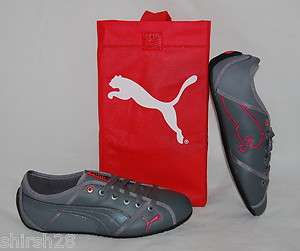 NIB WOMENS PUMA STYLE CAT LEA 8.5 GREY PINK RED SHOES SNEAKERS CASUAL