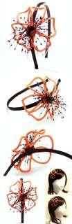 Big Wire beads Flower Headband wedding hair band ORANGE