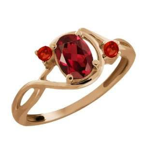 0.98 Ct Genuine Oval Red Garnet Gemstone 18k Rose Gold