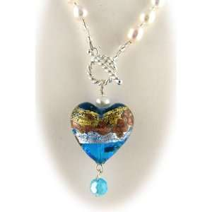 Glass Heart Pendant and Freshwater Pearl Lariat Necklace Jewelry