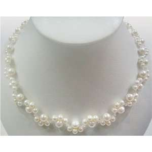 16 white freshwater pearl & crystal necklace Office