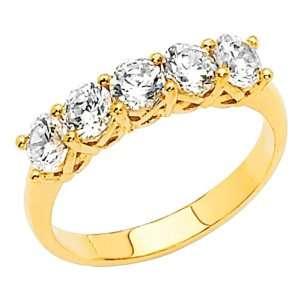 14K Yellow Gold Round cut CZ Cubic Zirconia Ladies Wedding