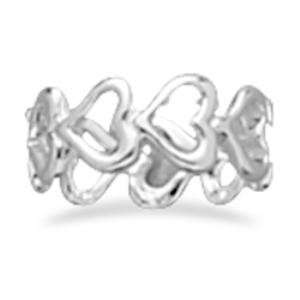 Cut Out Heart Band Ring Sterling Silver, 5 Jewelry
