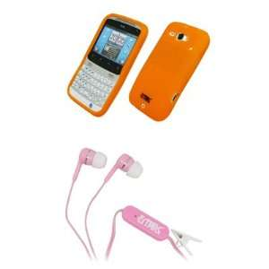 EMPIRE Orange Silicone Skin Case Cover + Pink Stereo Hands Free