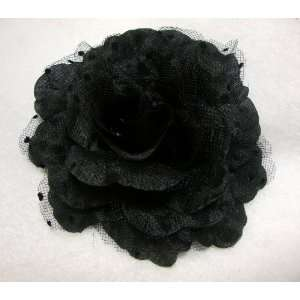 Small Black Rockabilly Rose Flower Hair Clip and Pin