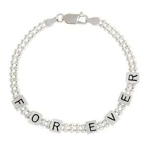 Sterling Silver Beaded Forever Love Cube Bracelet Jewelry
