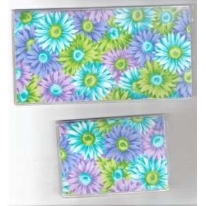 Cover Debit Set Daisy Daisies Flower Green Purple