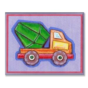 Kids Room Orange and Green Cement Truck Blue Stripe Wall Plaque Baby