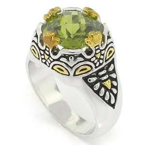Designer Inspired 2 tone Vintage Ring w/Olivine CZ, 5