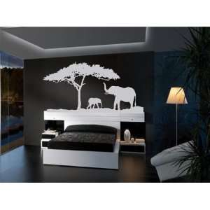 Elephant with Baby Vinyl Wall Art Decal