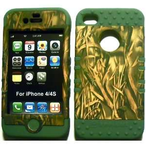 Camo Straw on Sage Silicone for Apple iPhone 4 4S Hybrid 2