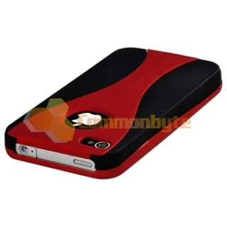 Red/Black 3 Piece Cup Hard CASE+PRIVACY Protector for VERIZON iPhone 4