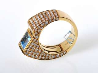 Technomarine Yellow Gold Diamond Topaz Sculpted Ring