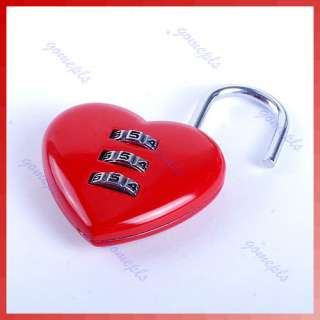 Mini Cute 3 Digits Luggage Suitcase Padlock Red Heart Shaped Coded