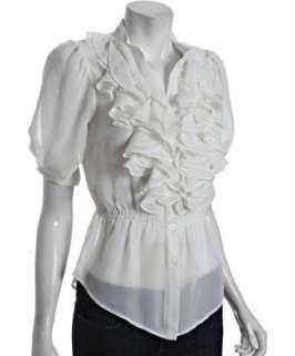 Romeo & Juliet Couture ivory chiffon ruffle blouse