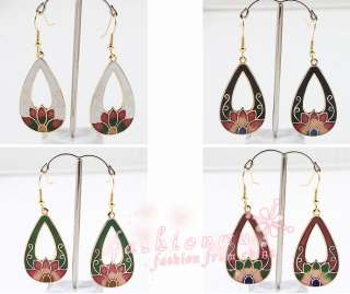 Pairs Super star Color Cloisonne Lotus Flower Drip Earring