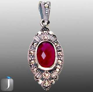 ELITE MARCASITE RED RUBY OVAL 925 STERLING SILVER ARTISAN PENDANT 1 1