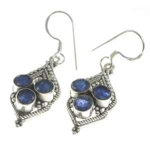 925 Sterling Silver Created Sapphire Earrings, 1.75, 6.6g Jewelry