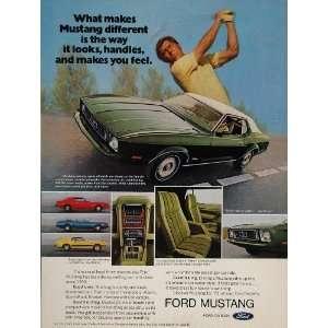 1973 Ad Green Ford Mustang Grande Car Golf Swing Golfer