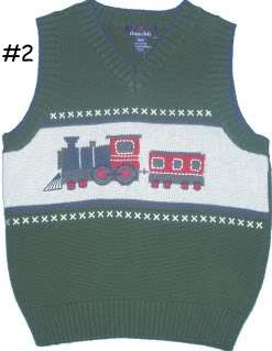 green with tan sleeveless sweater vest train on front 100 % cotton