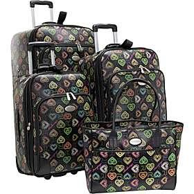 Digital Hearts 4 Piece Luggage Set Black w/ Multi Color Hearts