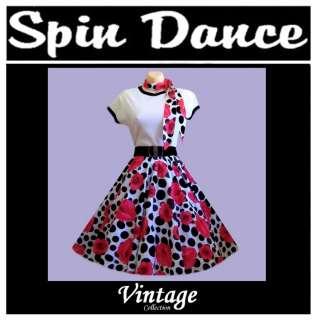 50s 60s Rock n Roll Skirt/Scarf, T Shirt, Belt Costume