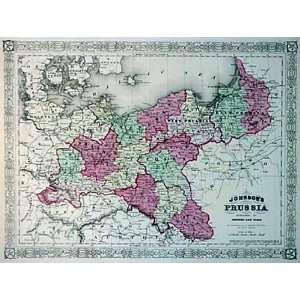 Johnson 1865 Antique Map of Prussia