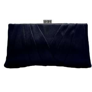 Black Satin Sophisticated Evening Purse   Clutch with High