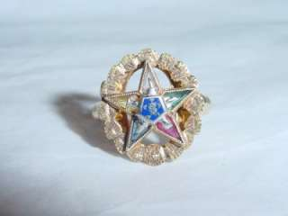 10K YELLOW GOLD EASTERN STAR RING MULTICOLOR STONE F.A.T.A.L.