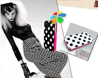 Black White Polka Dots 3in1 Gel Plastic Case Cover for iPhone 4 4S 4G