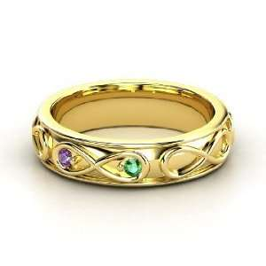 Infinite Love Ring, 14K Yellow Gold Ring with Emerald & Amethyst
