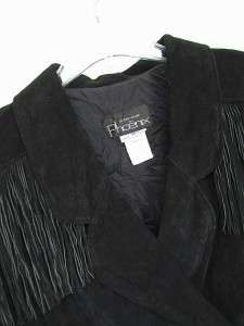 USA Vtg PHOENIX® Suede CROPPED Fringe LEATHER Motorcycle JACKET Black
