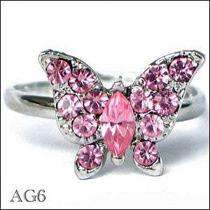 PINK MULTI CRYSTAL BUTTERFLY RING SILVER TONE O/S NEW