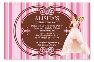 ELEGANT Bridal Shower Wedding Invitations CUSTOM COLOR Striped BRIDE