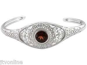 Bold 4ct Round Red Garnet .925 Sterling Silver Cuff Bracelet JTV *FREE