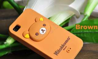 Brown Rilakkuma Bear 3D Silicone Gel Soft Case Skin Cover For iPhone 4