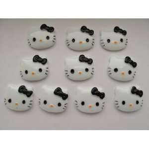 10 Large Resin Cabochon Flat Back Kitty Cat Black Bow Cellphones 27mm