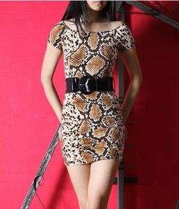 Snake Skin Printed Evening Cocktail Dress w/ Belt