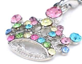 New Royal Crown Silver Tone Multi Crystal Cellphone Charm Strap
