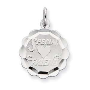 Sterling Silver Special Friend Disc Charm QC2330 Jewelry