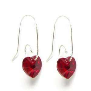 Crystal Love Siam Red Heart Sterling Silver Dangle Earrings Swirl Hook