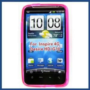 HTC Inspire 4G Crystal Hot Pink Skin Case Cell Phones & Accessories