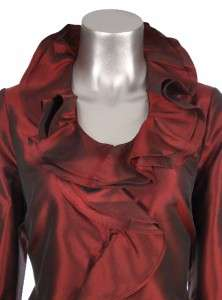 100% Silk Red Black Purple Ivory Beige Ruffle Shirt Blouse