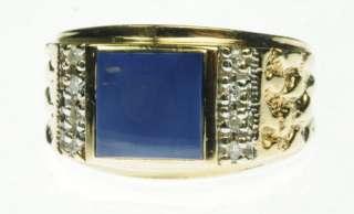 SOLID YELLOW GOLD LAPIS DIAMOND GEMSTONE ESTATE RING J214055