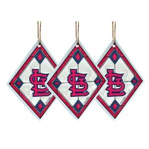 St Louis Cardinals   MLB Art Glass Decorative Ornament Set (3 Pieces