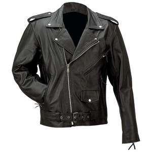Solid Buffalo Leather Motorcycle Jacket, Black, NEW