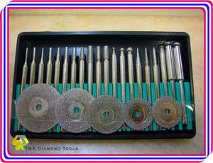 pcs Diamond coated rotary burr point & cutting wheel blades disc set