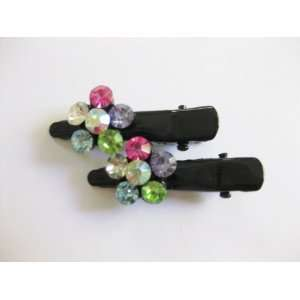 Multi Color Rhinestone Flower Black Metal Hair Clips For Girls Beauty