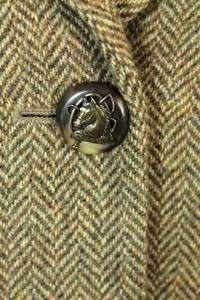 herringbone RALPH LAUREN tweed riding jacket blazer equestrian plus sz